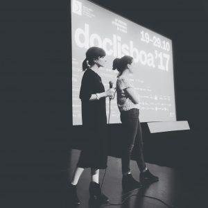 Luísa Sequeira e Cíntia Gil na apresentação do filme no Doclisboa na sala Manoel de Oliveira