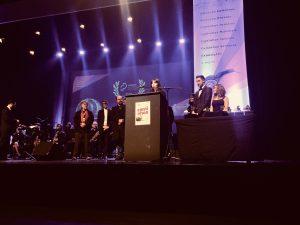 Luísa Sequeira na entrega de prémios no festival caminhos cinema português